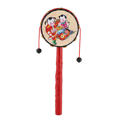 Baby Kids Chinese Traditional Hand Bell Rattle Drum Handbell Musical Toys