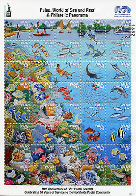 Palau 2016 MNH World of Sea & Reef Phil Panorama NY2016 40v MS Fish Coral Stamps