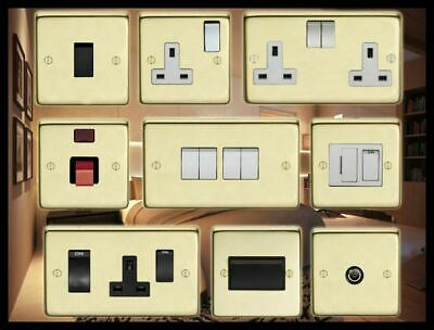 Standard Or Led Dimmers Light Switch Cooker Switch Plug Sockets.  Satin Brass