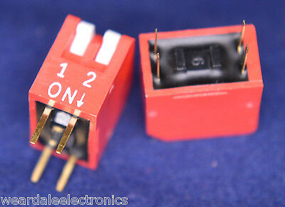 MULTICOMP MCDP02 WAY DIP SWITCH RED SPST 24VDC 25ma  PCB MOUNT RoHS PACK OF 5