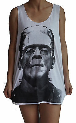 f90785799e3450 Frankenstein Vest Tank Top Singlet Dress Sleeveless T-Shirt Mens Womens  Ladies
