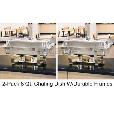 2 Pack Full Size 8 Qt. Stackable Stainless Steel Chafing Dishes Catering