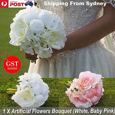 New 1X Bouquet Artificial Rose Flowers White Pink Silk Wedding Bridal Party DIY
