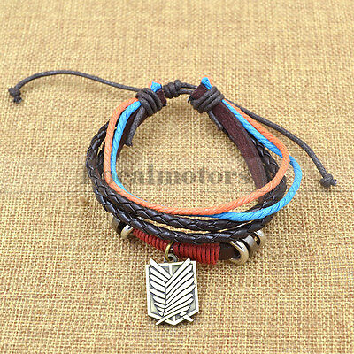 Anime Attack on Titan Leather Bracelet Muti-Layer Shingeki no Kyojin CosplayCuff