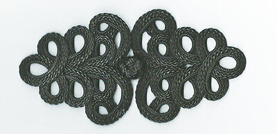 XL large black Chinese Frogs fasteners macrame closure knot buttons 2 pairs NEW