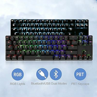 Drevo 71 Key RGB Backlit Bluetooth Wireless Mechanical PC Keyboard Blue Switch