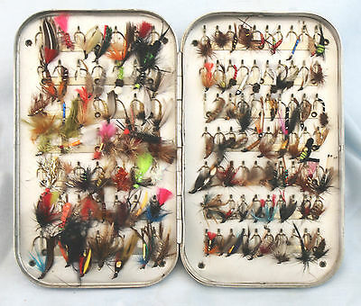 """6""""x 3.1/2 Wheatley alloy Fly Box with 119 clips and 119 classic trout flies"""
