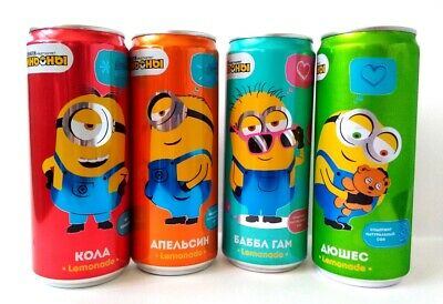 Coca-cola, Minions,Union Pin-Up soda cans 9 pcs from Russia Bottom Open 330