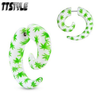 TTstyle UV Acrylic Pot Leaf Spiral Fake Cheater Ear Taper A Pair