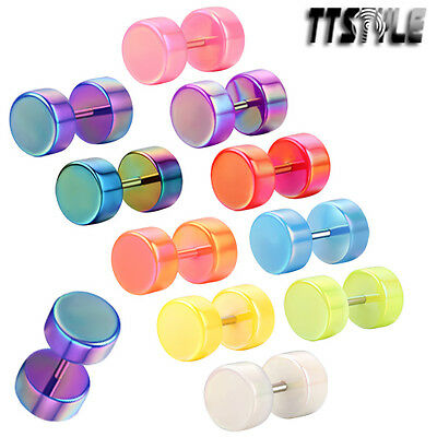 TTstyle 8mm UV Acrylic Fake Cheater Ear Plug A Paor Choose Colour NEW