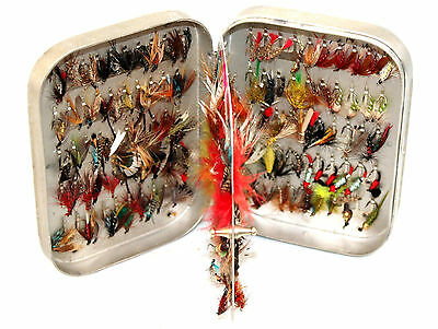 "5""x 3.1/2 Wheatley Swing leaf alloy Fly Box with 170  clips and 170 Trout flies"