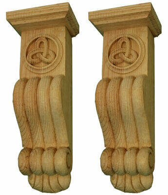 A pair of Celtic Knot Style Corbels, hand carved in pine wood  #361