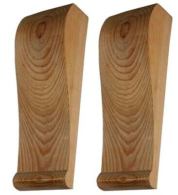 Long Zen Plain Cutshape Fireplace Corbels  (MATCHED PAIR)  Solid pine wood, #386