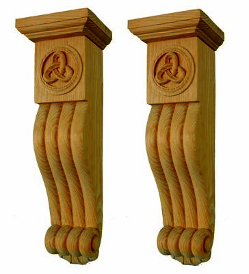 Pair of Celtic Knotwork Style Corbels, hand carved in pine wood,  #363