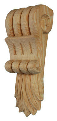 Corbels with Flame Leaf  (PAIR)  Solid PINE 722