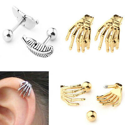 2x Stainless Steel Feather Barbell Ear Cartilage Helix Stud Bar Piercing Earring