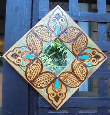 Henna style design handpainted and burned Decorative  Square mirror only one