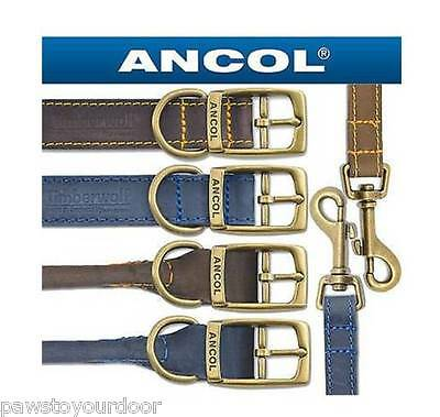 Ancol Timberwolf Leather Dog Collar Lead all sizes Blue or Sable (Brown)