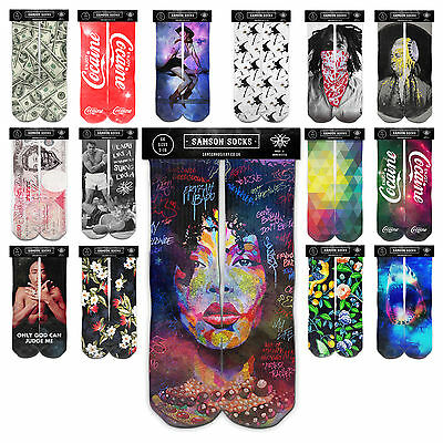 Samson® Hand Made Printed 3D Crew Socks Graffiti Space Ganja Cotton Mens Womens