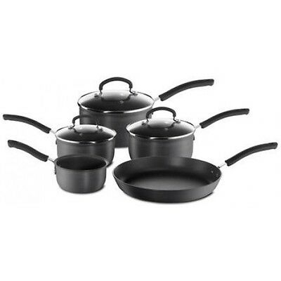 Tefal Inspire Hard Anodised Non-stick 5 Piece Set with Glass Lids