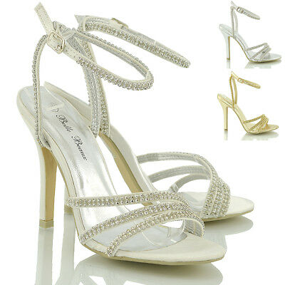Womens Ankle Strap Sandals Stiletto Heel Ladies Diamante Party Prom Shoes Size