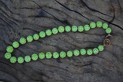 CHINESE SHOU GREEN LIME CARVED TURQUOISE BEADS 78.3gms China