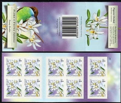 SINGAPORE MNH 2009Flora and Fauna (Pigeon Orchid) Booklet complete.