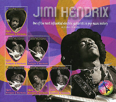 Antigua & Barbuda 2016 MNH Jimi Hendrix 6v M/S Rock Stars Celebrities Stamps