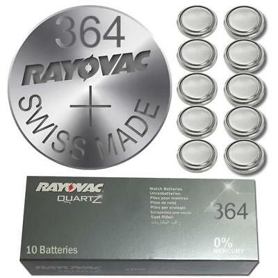 10 X Rayovac 364 SR60 SR621SW AG1 1.55 volt Silver Oxide Watch Battery