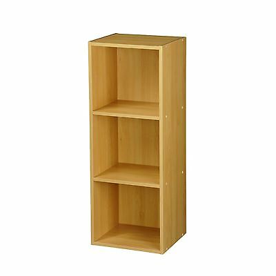 Natural 3 Tier Beech Wooden Bookcase  Storage Unit  New & Boxed