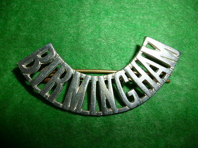 Birmingham Civil Defence White Metal Shoulder Title Badge