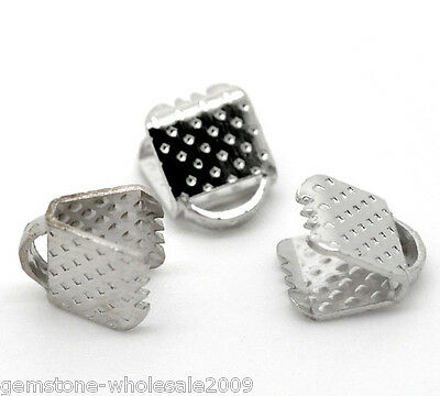W09 200 Silver Tone Textured End Caps Crimp Beads 6x8mm