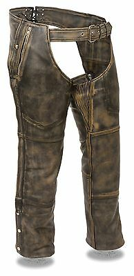 Men's Leather Distressed Brown Four Pocket Motorcycle Chap w/ Snap Out Liner