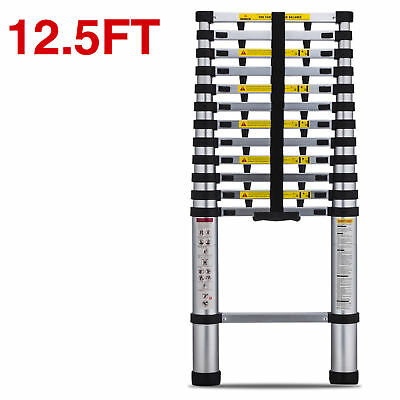 Anti Pinch Portable 12.5 Feet Aluminum Telescoping Extension Ladder, 12 Steps