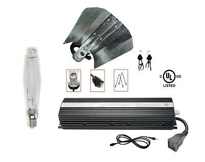"400W 600W 1000W Watt Digital Dimmable Ballast SUPER HPS Bulb 19"" Wing Reflector"