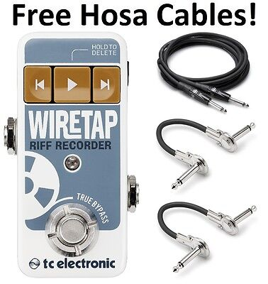 New TC Electronic Wire Tap Riff Recorder Guitar Effects Pedal! Hosa Cables