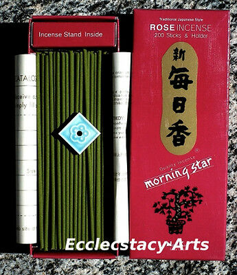 Morning Star Rose Incense 3 Boxes = 600 Japanese Sticks Nipon Kodo NEW  {:-)