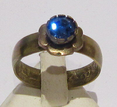 VINTAGE NICE BRONZE RING WITHBLUE STONE FROM THE EARLY 20th CENTURY # 37B