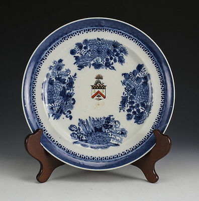 Chinese Export Porcelain Cabinet Plate,c1810. Hand Painted Blue & White Armorial