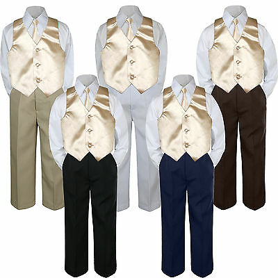 4pc Champagne Vest & Tie  Suit Set Baby Boy Toddler Kid Uniform S-7