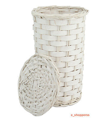 White Wicker Toilet Roll Holder With Lid Bathroom Storage Decor (Holds x2 Rolls)