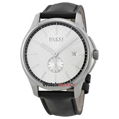 3712aba09ff Gucci G-Timeless Automatic Silver Dial Black Leather Strap Mens Watch  YA126313