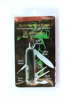 SCOTTISH ARMY KNIFE -6 FUNCTION GOLF TOOL -SPIKE WRENCH GROOVE CLEANER DIVOT etc