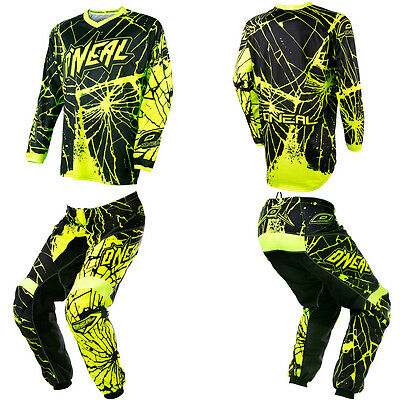 ONeal Element Enigma Green Kids/Youth Motocross Dirtbike Gear Jersey Pants Combo