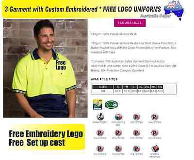 3  x HI VIS  Work shirts with Your Embroidered * FREE  LOGO  WORKWEAR  028