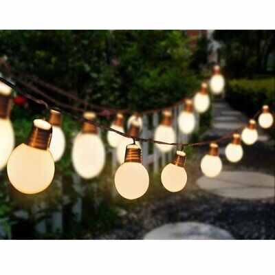 20 Deluxe Bright LED Solar Festoon Party String Lights WarmWhite White Blub