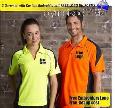 3  x HI VIS  Work shirts with Your Embroidered * FREE  LOGO  WORKWEAR  036