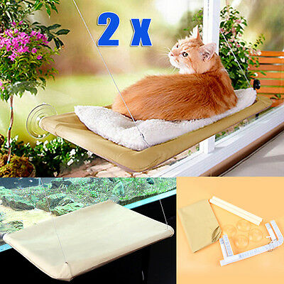 2x Cat Window Mounted Bed Seat Pets Hammock Wall Beds Cover Washable Puppy Home