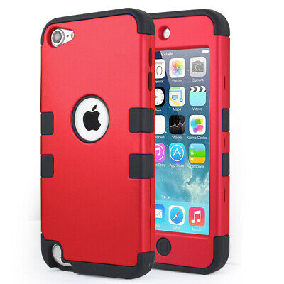 iPod Touch iTouch 5th/6th Gen BLK High Impact Armor Hard&Soft Rubber Hybrid Case