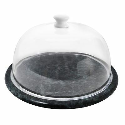 Cheese Board, Green Marble, Clear Plastic Dome
